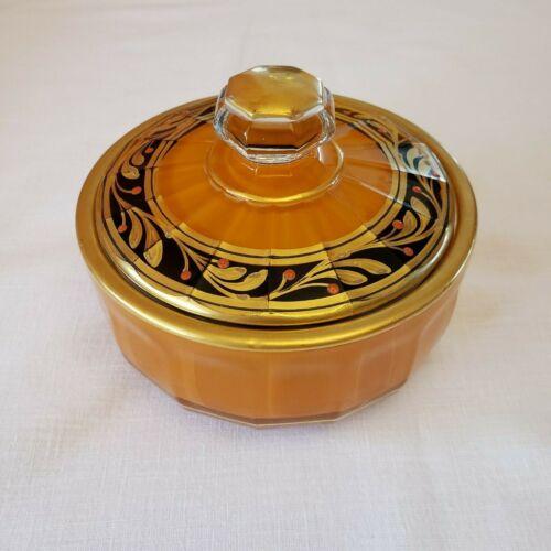 VTG Art Deco Enameled Faceted Candy Dish Vanity Jar w/Lid Black & Gold on Orange