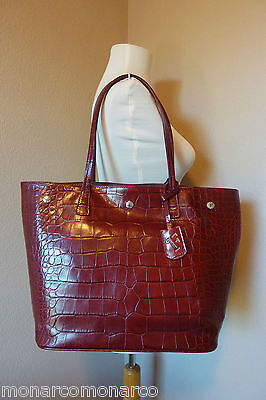 NWT FURLA Wine Distressed Croco Embossed  Leather D-light Tote Bag Made in Italy
