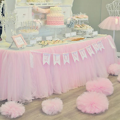 US Stock Tulle Tutu Table Skirt Wedding Party Xmas Baby shower Decor Light Pink - Pink Tutu Table Skirt