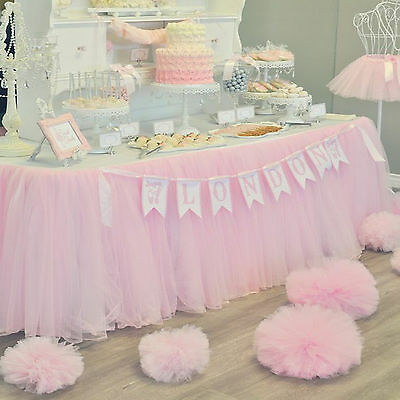 USA XMAS Tulle Tutu Table Skirt Wedding Party Xmas Baby shower Decor Pink GW - Pink Tutu Table Skirt