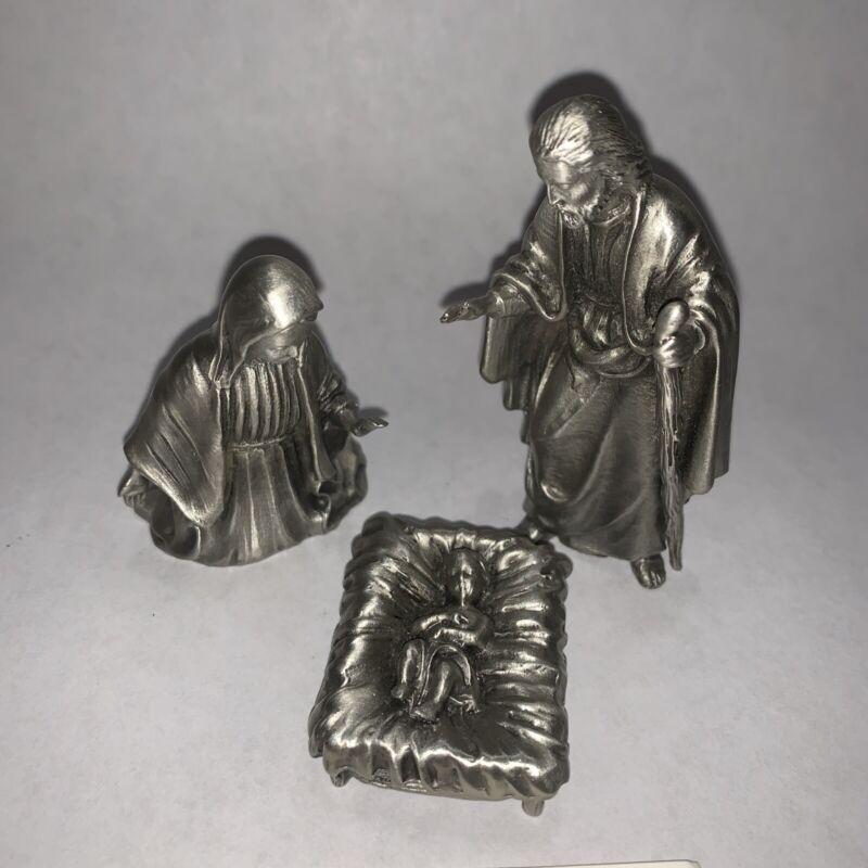 Hudson Fine Pewter Baby Jesus Mary & Joseph 3 Piece Nativity 1976