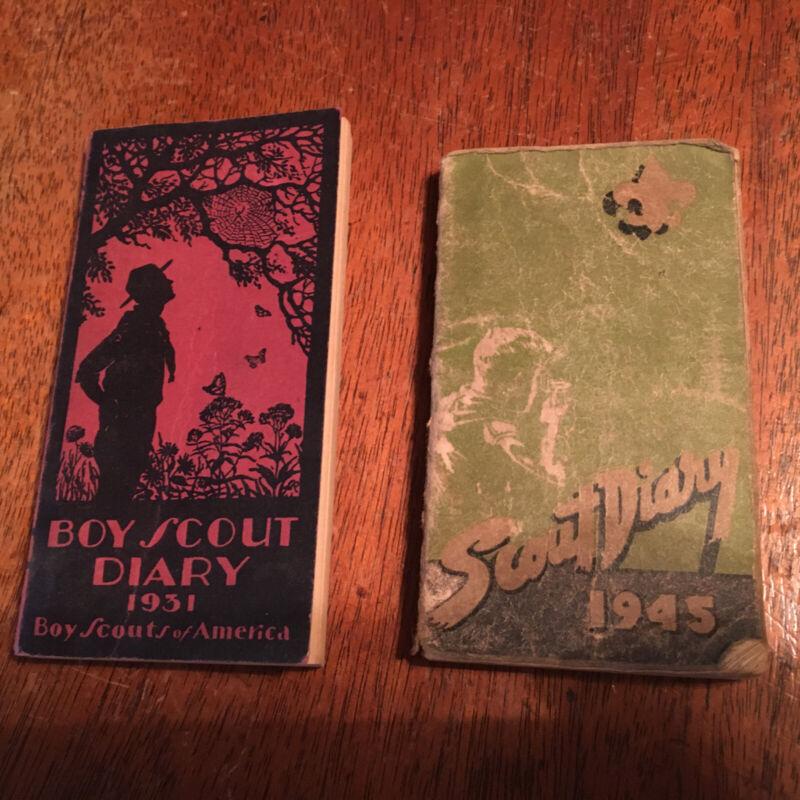 Boy Scout 1931 Boy Scout Diary Unused & Boy Scout Diary 1945 Used