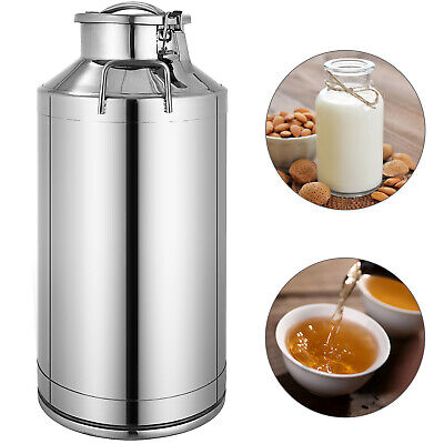 60l 15.85 Gallon Stainless Steel Milk Can Wine Pail Bucket Tote Jug In One Piece