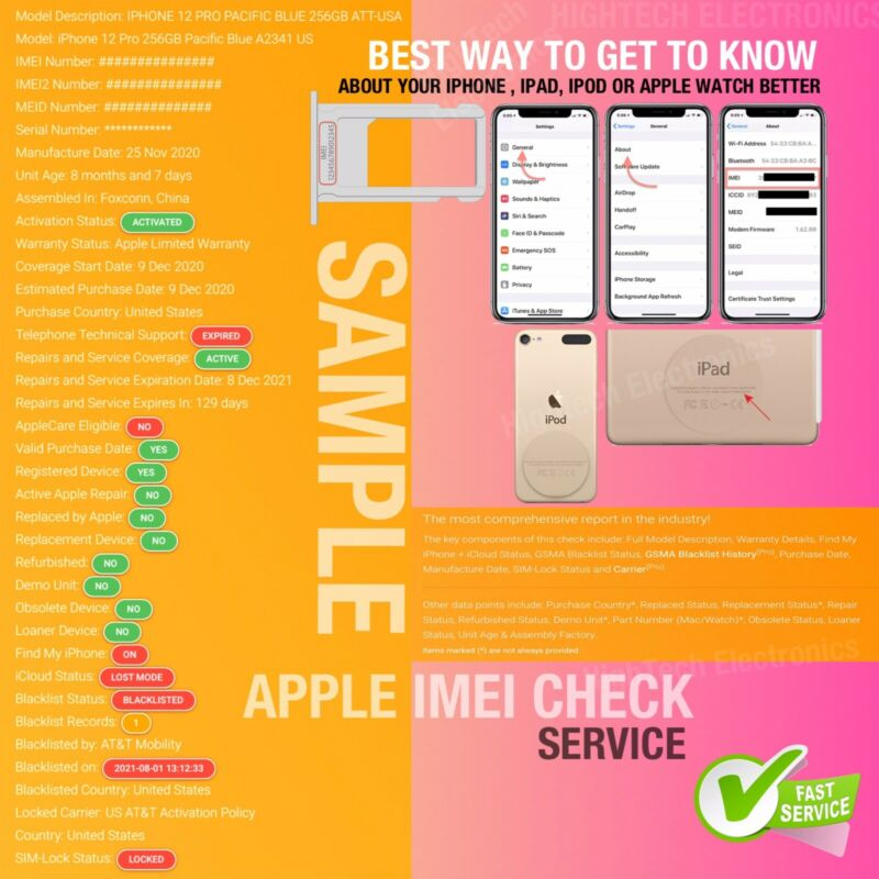 Full Apple Details (with Blacklist Pro + Carrier) INSTANT  IMEI Check Service