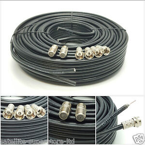 25m Black Twin Satellite Shotgun Extension Coax Cable Lead 4 Sky Plus HD Freesat