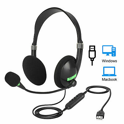 USB Wired Headset Computer Headphone+Microphone Noise Cancelling For PC Laptop