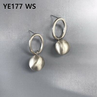 Silver Ball Drop - Simple Bohemian Silver Finished Oval Shape Circle Ball Drop Dangle Post Earrings