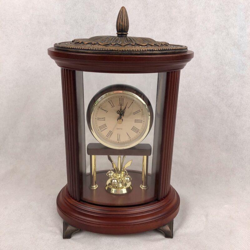 """2004 Bombay Company 13"""" Mahogany Anniversary Mantle Desk Shelf Clock Footed"""