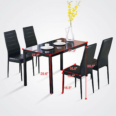 5 Pieces Dining Set Glass Table and 4 Chairs Breakfast Kitchen Room Furniture