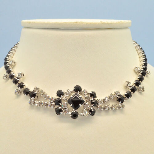 Vintage Necklace 1950s Black Glass & Clear Crystal Silvertone Bridal Jewellery
