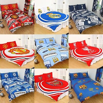 Cotton Blend NEW FOOTBALL CLUB DOUBLE DUVET QUILT COVER SETS BOYS KIDS BEDROOM