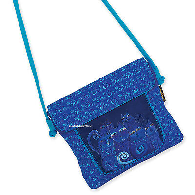 Laurel Burch Indigo Cats Flap Over Crossbody Tote Bag Med/Small (Bag Small Tote Flap)