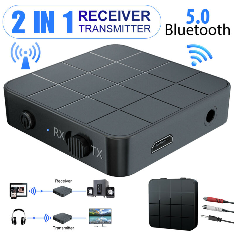 2-in-1 Bluetooth 5.0 Transmitter & Receiver Stereo Music Audio Adapter TV PC Car