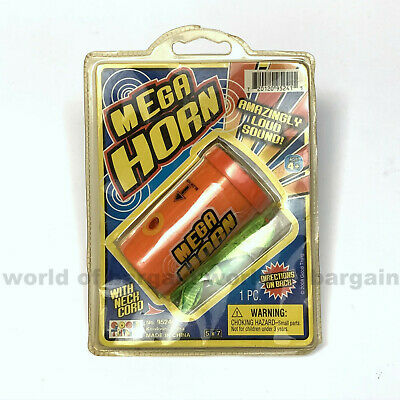 MEGA HORN Toy Amazingly Loud Sound Blow Air Whistle Trumpet w/ Neck Cord