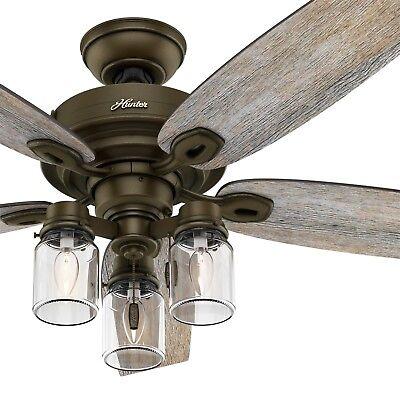Hunter Fan 52 inch Regal Bronze Ceiling Fan with 3 Light Fitter & Remote Control ()