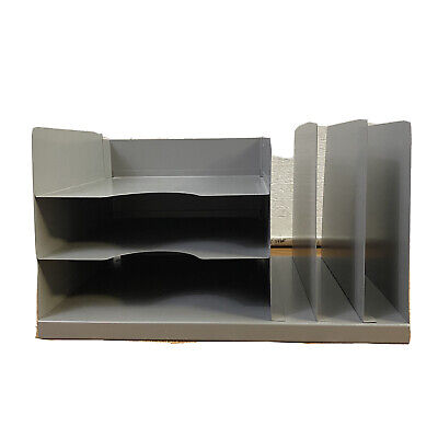 Vintage Industrial Gray Metal Desk Paper File Organizer 6 Slot Hunt Mfg Lit-ning
