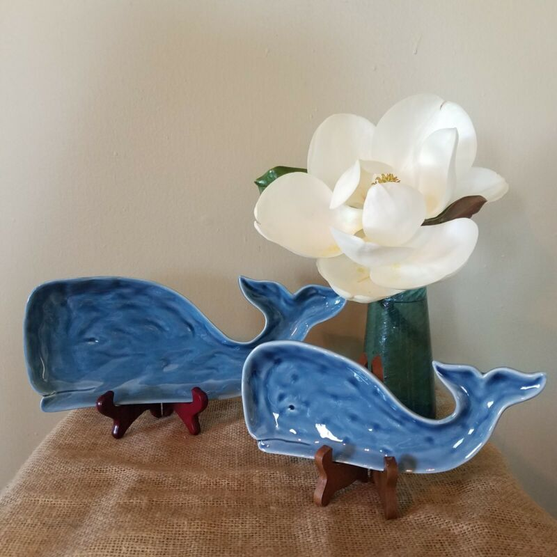 Set Of 2 Blue Ceramic Whale Dishes