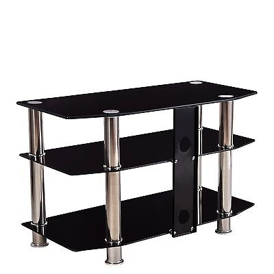 "مكتبة تلفزيون جديد Black TV Stand 3 Glass Shelves Storage 15""-60"" LCD PLASMA LCD TV"