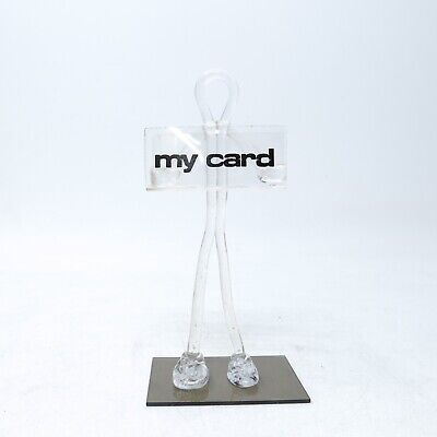 Vintage Figural Lucite Acrylic Standing Guy Business Card Holder
