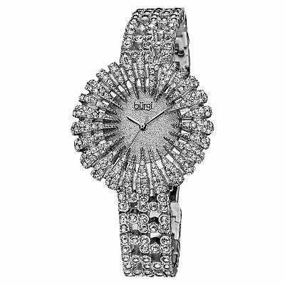 Women's Burgi BUR054SS Glitter Effect Dial Sparkling Crystal Bezel Dress Watch