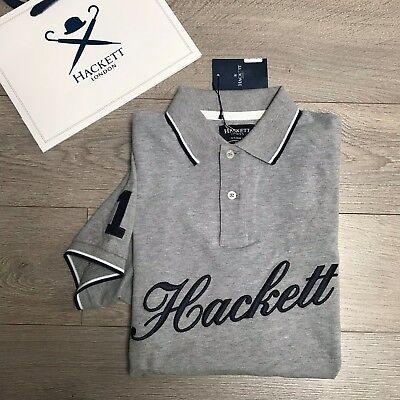 New HACKETT Mens Tailored Polo Shirt Grey Size Small 100% Genuine BNWT