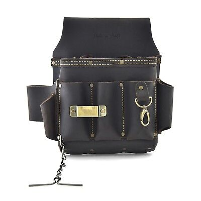 Style n Craft  70603 - 10 Pkt Electrician's Tool Pouch - Top Grain Oiled Leather