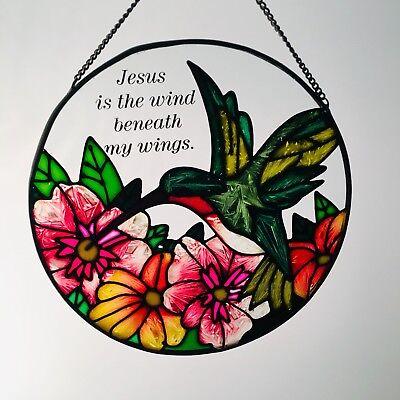 "Hammering Bird, Flowers & Jesus Prayer Round 6.5"" Glass Suncatcher Hand Painted"