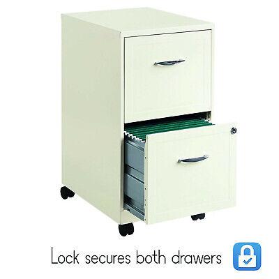 White 2 Drawer Metal Mobile Filing Cabinet Home Office Storage Furniture W Lock