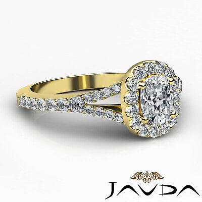 Halo Split Shank French U Pave Cushion Diamond Engagement Ring GIA F VS2 1.21 Ct 9