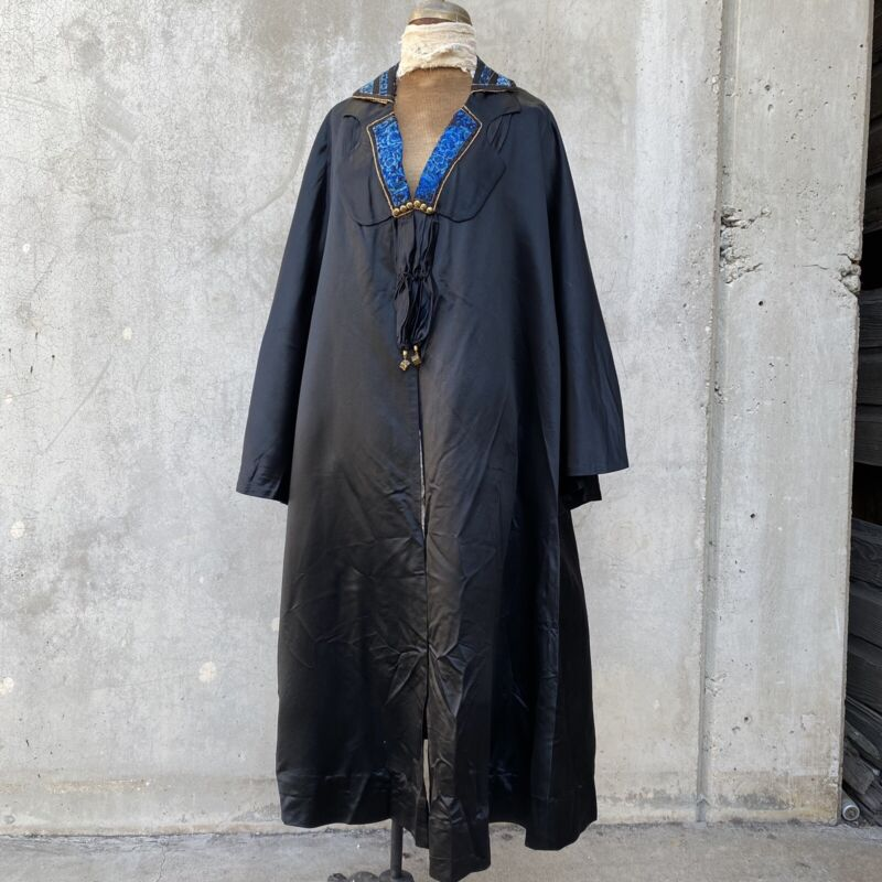 Antique Chinese 1920s Cocoon Coat With Qing Embroidery Silk Blue Floral Gold