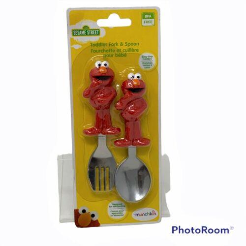 NEW MUNCHKIN Elmo Sesame Street Fork and Spoon Set Toddler Baby Self-Feeding Red