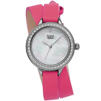 Women's Burgi BUR22PK Diamond Crystal Hot Pink Double Wrap Safiano Leather Watch