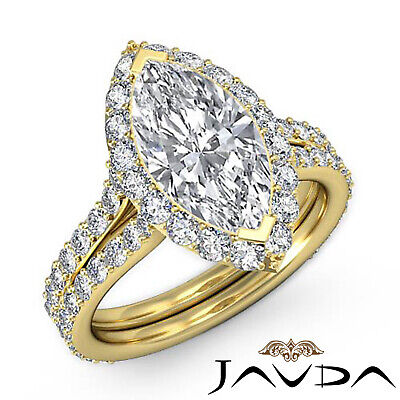 Halo Pave Set Marquise Cut Diamond Engagement Anniversary Ring GIA I SI1 2.36Ct 6
