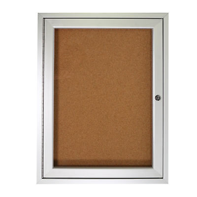 1 Door Enclosed Natural - Ghent 1 Door Enclosed Natural Cork Bulletin Board Satin Frame 24