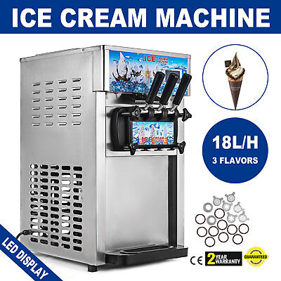 Frozen Soft Serve Ice Cream Maker Machine Mix Flavors 3 Head 18lh 4.75galh