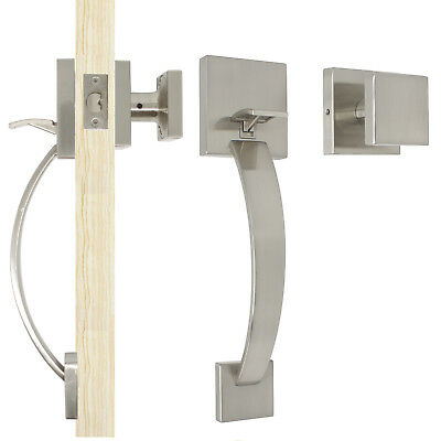 Keyless Entry Door Set - Probrico Exterior Front Entry Door Handle set Brushed Nickel Square Keyless