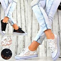 Nuevo Zapatos Mujer Informales Zapatillas De Deporte Cordones Encaje -  - ebay.es