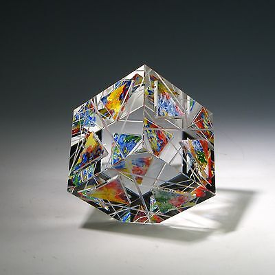"""New OAK Optic Crystal Glass Paperweight """" BANDERAS """" by Ray Lapsys"""