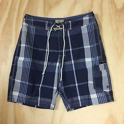 New J.Crew The Original Longboard Shorts Men's 32 Blue White Plaid Swim Trunks