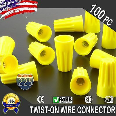 100 Yellow Twist-on Wire Gard Connector Conical Nuts 18-12 Gauge Barrel Screw