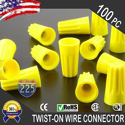 100 Yellow Twist-on Wire Connector Connection Nuts 18-12 Gauge Barrel Screw