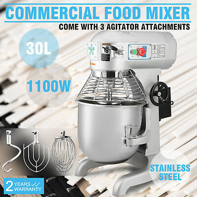 1.5hp 30 Qt Commercial Bakery Mixer Dough Blender Food Mixer Gear Driven 1100w
