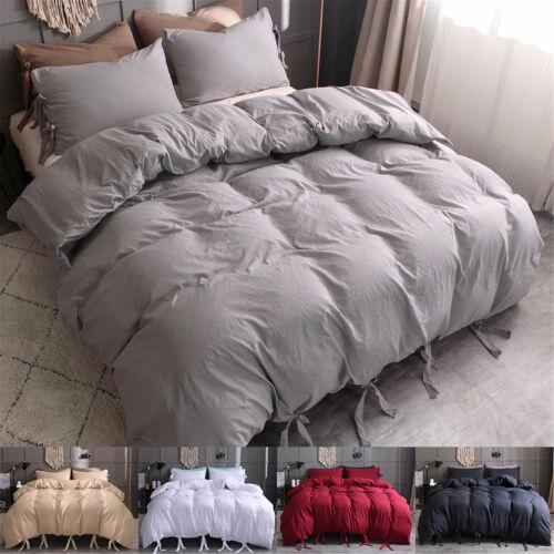 Duvet Cover Strap Comforter Cover w Pillowcase Bedding Set T