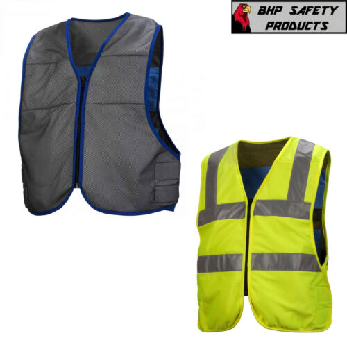Pyramex CV100/CV200 Evaporative Cooling Vest, Hi-Vis Lime / Gray Options, M-5XL