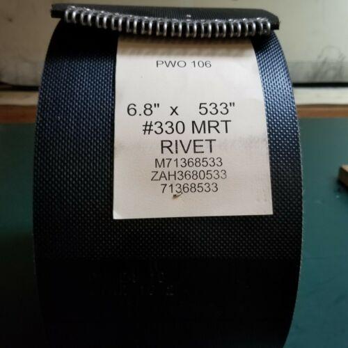 "6.8"" x 533"" Vermeer Round Baler Belts 3 Ply HD Mini Roughtop w/ Alligator Lacing"
