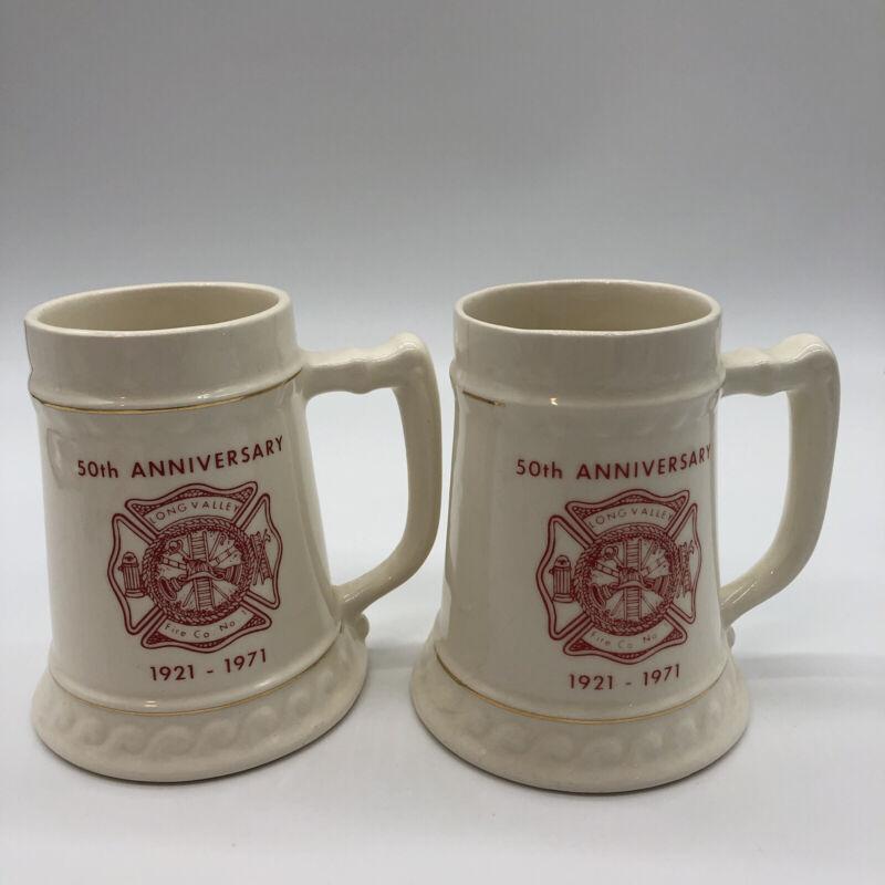 Lot Of 2 Long Valley Fire Company No 1 NJ New Jersey Mug Stein 1921-1971 VTG