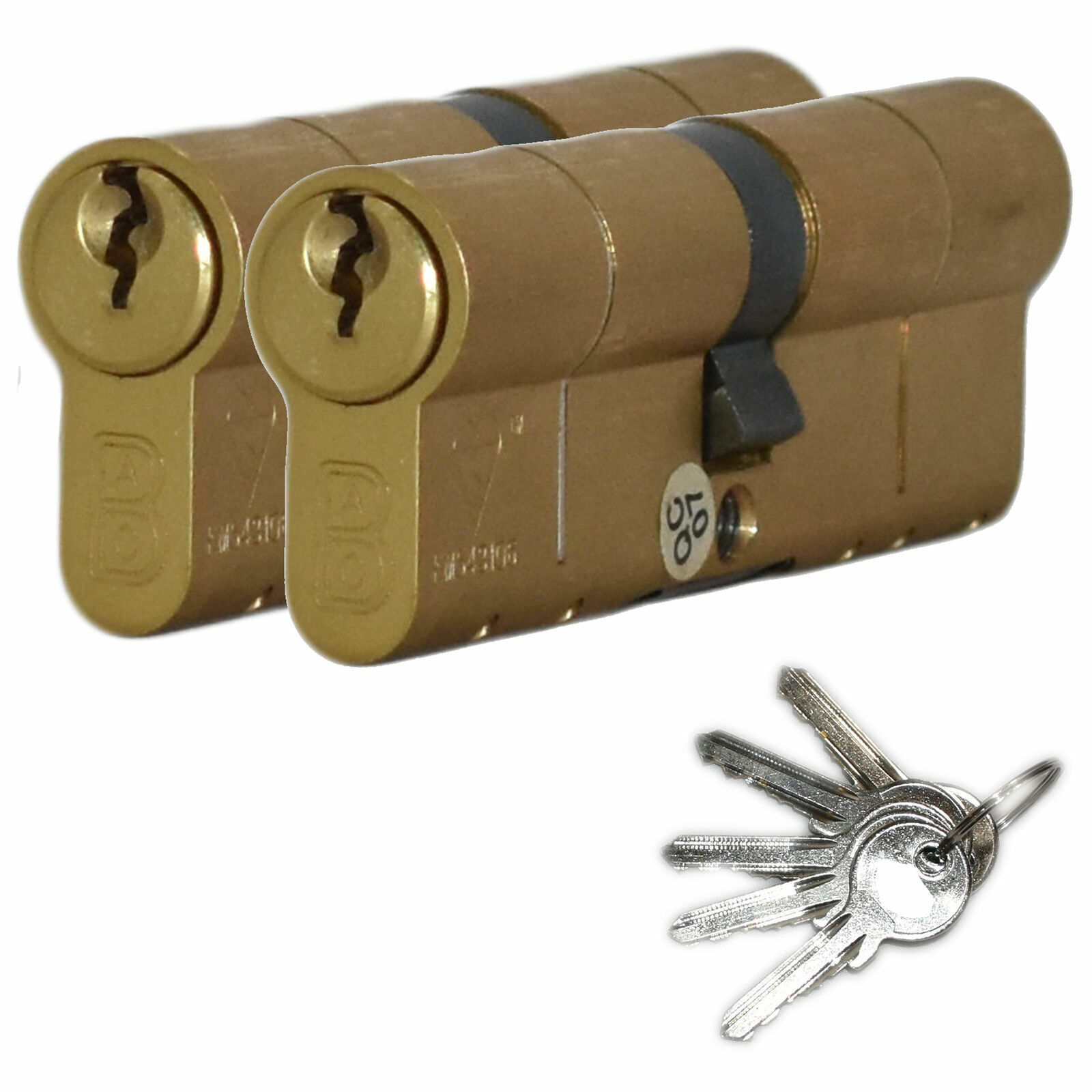 Door Lock Brass Gold Euro Profile Cylinder with 7 Keys