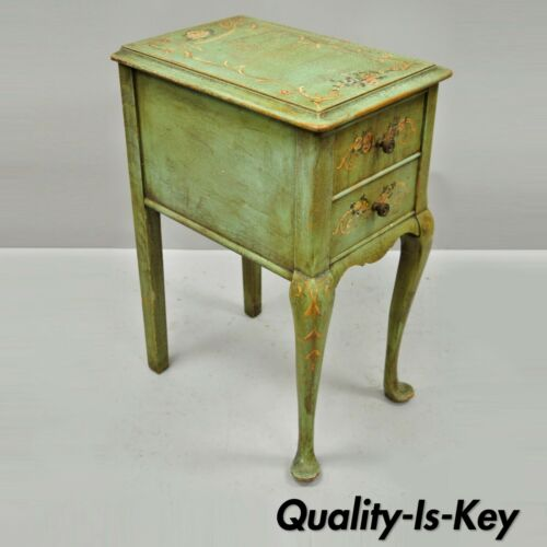 Antique French Adams Style Green Floral Shabby Distress Painted Chic Nightstand