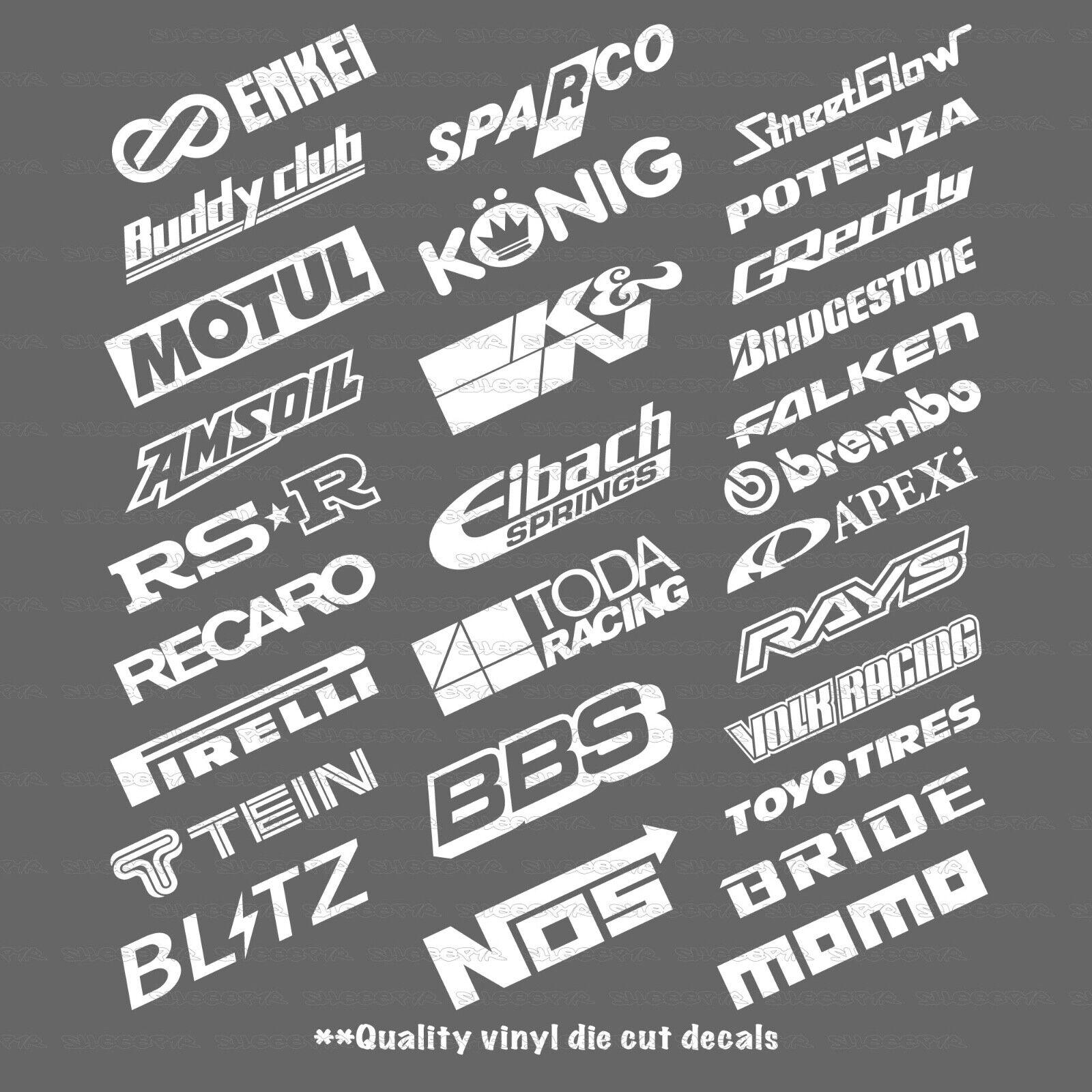 Automotive Sponsor Logos 15 Random Decals Stickers V1.2 JDM Racing Drift Turbo