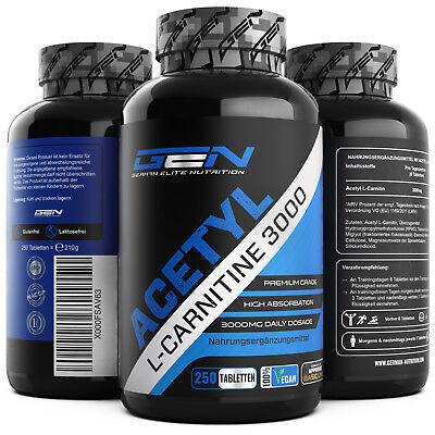 Acetyl L-Carnitine 3000 250 Tabletten Diät + Stärkstes L-Carnitin